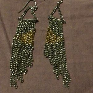 Silver earrings with a tint of gold